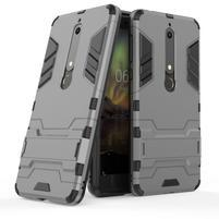 Defender odolný hybridní obal se stojánkem na Nokia 6.1 - šedý