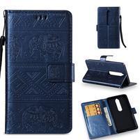 Print PU kožené pouzdro na mobil Nokia 6.1 - modré