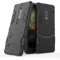 Defender odolný hybridní obal se stojánkem na Nokia 6 (2018) - černý