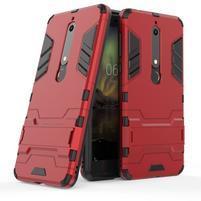 Defender odolný hybridní obal se stojánkem na Nokia 6 (2018) - červený