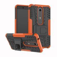Outdoor odolný obal se stojánkem na Nokia 6.1 - oranžový
