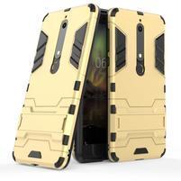 Defender odolný hybridní obal se stojánkem na Nokia 6.1 - zlatý