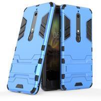 Defender odolný hybridní obal se stojánkem na Nokia 6 (2018) - světle modrý