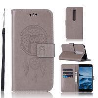 Dream PU kožené peněženkové pouzdro na mobil Nokia 6.1 - šedé