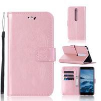 Dream PU kožené peněženkové pouzdro na mobil Nokia 6.1 - růžovozlaté