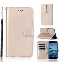 Dream PU kožené peněženkové pouzdro na mobil Nokia 6.1 - zlaté