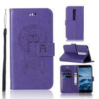 Dream PU kožené peněženkové pouzdro na mobil Nokia 6.1 - fialové