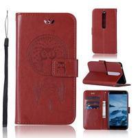 Dream PU kožené peněženkové pouzdro na mobil Nokia 6.1 - hnědé