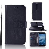 Dream PU kožené peněženkové pouzdro na mobil Nokia 6.1 - černé