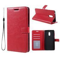 Crazy PU kožené pouzdro na mobil Nokia 6 - červené