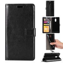 Wallet PU kožené peněženkové pouzdro na Nokia 6 - černé