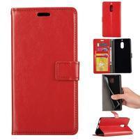 Wallet PU kožené peněženkové pouzdro na Nokia 6 - červené