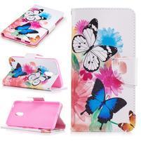 Emotive PU kožené pouzdro na mobil Nokia 6 - květinoví motýlci