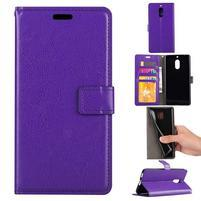 Wallet PU kožené peněženkové pouzdro na Nokia 6 - fialové