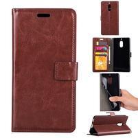 Wallet PU kožené peněženkové pouzdro na Nokia 6 - hnědé