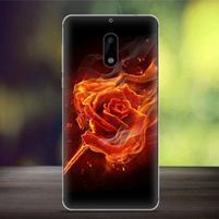 Cover gelový obal na mobil Nokia 6 - ohnivá růže
