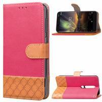 Jeansy PU kožené/textilní pouzdro na mobil Nokia 6.1 - růžové