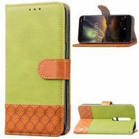 Jeansy PU kožené/textilní pouzdro na mobil Nokia 6.1 - zelené