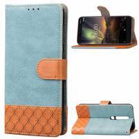 Jeansy PU kožené/textilní pouzdro na mobil Nokia 6.1 - modré