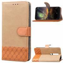 Jeansy PU kožené/textilní pouzdro na mobil Nokia 6.1 - khaki