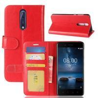 Crazy PU kožené pouzdro na mobil Nokia 8 - červené