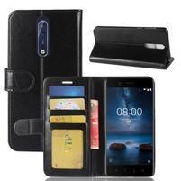 Crazy PU kožené pouzdro na mobil Nokia 8 - černý