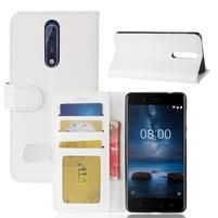 Crazy PU kožené pouzdro na mobil Nokia 8 - bílé
