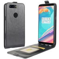 Crazy PU kožené flipové pouzdo pro OnePlus 5T - černé