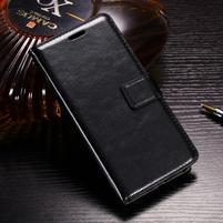 Horse PU kožené peněženkové pouzdro na OnePlus 5T - černé