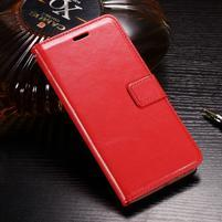 Horse PU kožené peněženkové pouzdro na OnePlus 5T - červené