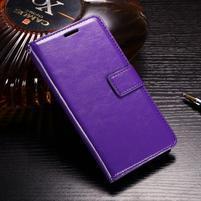 Horse PU kožené peněženkové pouzdro na OnePlus 5T - fialové