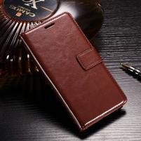 Horse PU kožené peněženkové pouzdro na OnePlus 5T - hnědé