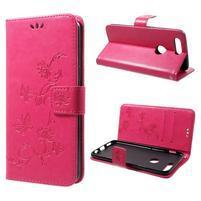 Butterfly PU kožené pouzdro pro OnePlus 5T - rose