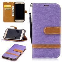 Jeany textilní/PU kožené pouzdro na Samsung Galaxy A3 (2017) - fialové