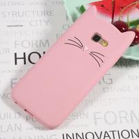 Cat 3D silikonový obal na Samsung Galaxy A3 (2017) - růžový
