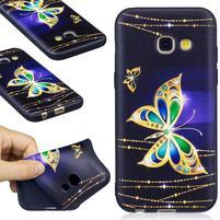 Emboss gelový obal na mobil Samsung Galaxy A3 (2017) - zlatý motýl