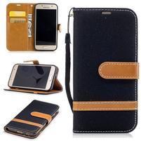 Jeany textilní/PU kožené pouzdro na Samsung Galaxy A3 (2017) - černé