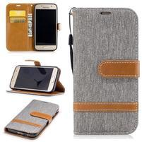 Jeany textilní/PU kožené pouzdro na Samsung Galaxy A3 (2017) - šedé
