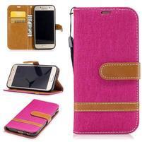 Jeany textilní/PU kožené pouzdro na Samsung Galaxy A3 (2017) - rose