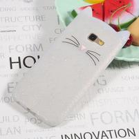 Cat 3D silikonový obal na Samsung Galaxy A3 (2017) - bílý
