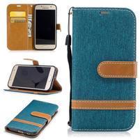 Jeany textilní/PU kožené pouzdro na Samsung Galaxy A3 (2017) - modrozelené