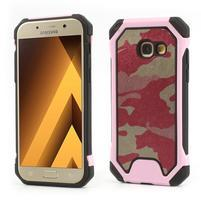 Army odolný obal na mobil Samsung Galaxy A5 (2017) - růžový lem