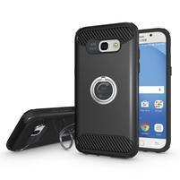 Metalring odolný obal s náprstkem na Samsung Galaxy A5 (2017) - černý