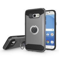 Metalring odolný obal s náprstkem na Samsung Galaxy A5 (2017) - šedý