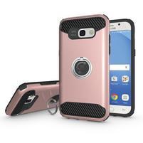Metalring odolný obal s náprstkem na Samsung Galaxy A5 (2017) - růžovozlatý