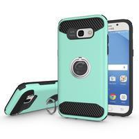 Metalring odolný obal s náprstkem na Samsung Galaxy A5 (2017) - azurový