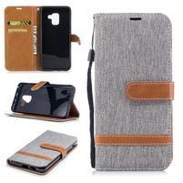 Jeans PU kožené/ textilní pouzdro na mobil Samsung Galaxy A8 (2018) - šedé