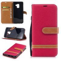 Jeans PU kožené/ textilné puzdro na mobil Samsung Galaxy A8 (2018) - červené