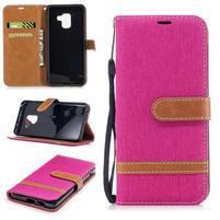 Jeans PU kožené/ textilní pouzdro na mobil Samsung Galaxy A8 (2018) - rose