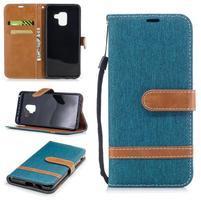Jeans PU kožené/ textilní pouzdro na mobil Samsung Galaxy A8 (2018) - zelenomodré